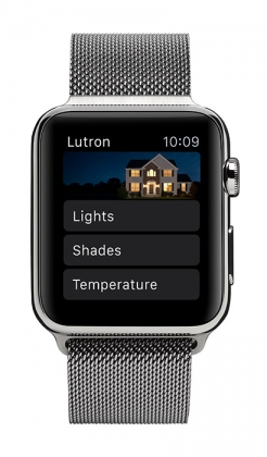 Product Photo of the Lutron App Home Screen on an Apple Watch