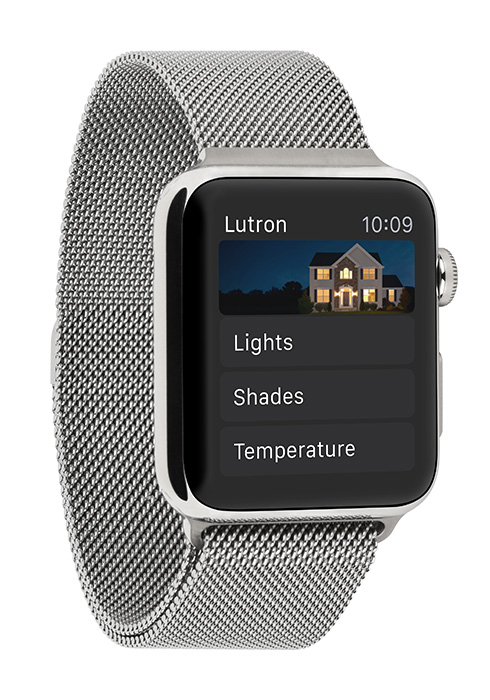 Lutron App Home Screen on Apple Watch with Milanese Loop Angle View
