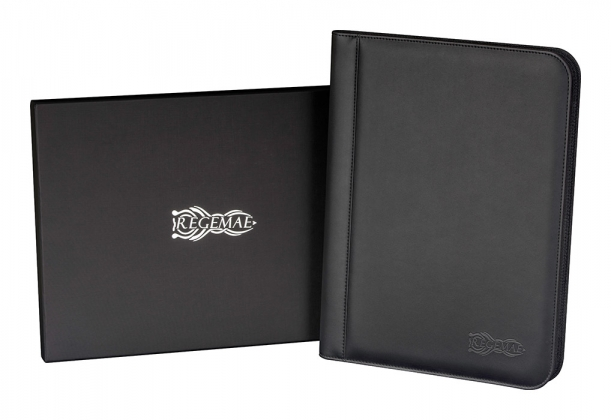 Product Photograph of a Black Leather Padfolio and Giftbox